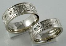 Northwest Coast Native Design Wedding Bands
